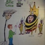 mural of ALFIE GREEN AND THE BEE BOTTLE GANG Joe O'Brien as seen on RTE's THE DEN school mural, statues and murals dublin, ireland, denver, Mural Artist experts, all wall murals, mural artist frances blake