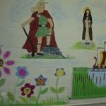 mural of CUCHULANN, ST BRIDGET AND THE VIKING SHIP school mural, statues and murals dublin, , Mural Artist experts, all wall murals, mural artist frances blake