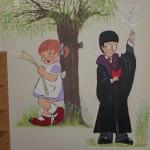 mural of HARRY POTTER, GIRL READING - LIBRARY school mural, statues and murals dublin, ireland,denver, Mural Artist experts, all wall murals, mural artist frances blake