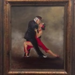 oil painting of dancers by frances blake framed