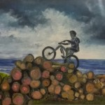 Biking up the Dublin Mountains (oils)