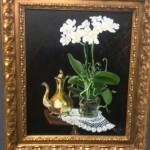 Brass Coffee Pot and White Orchid Still Life