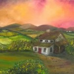 Irish Cottage in Twilight (oils)