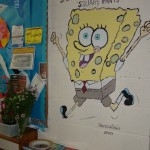 Sponge Bob Square Pants by Mural Artist Frances Blake mural of sponge square pants, sponge bob can also be painted in his st patricks day outfit or his Christmas outfit, school mural, statues and murals dublin, denver, Mural Artist experts, all wall murals