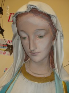 THE BLESSED VIRGIN (before restoration) restored by frances blake of murals and statues dublin