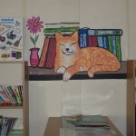 mural of the cat in the library school mural, statues and murals dublin, denver, Mural Artist experts, all wall murals, window murals, kids painting murals, mural artist frances blake