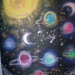mural of the cosmos. the planets and the milky way, school mural, statues and murals dublin, denver, Mural Artist experts, all wall murals, mural artist frances blake