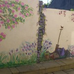 outdoor garden murals, statues and murals dublin ireland, denver, Mural Artist experts, all wall murals, library murals, playroom murals, children help paint murals, mural artist frances blake